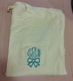 Monogrammed Bow Pocket Tee by The Initialed Life