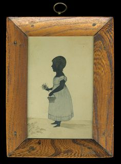 Young girl facing left, with light blue watercolor dress, holding flowers and basket, hardwood frame, 6″ x 4″ (sight); (ex. Fertig collection).