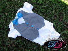 Custom Aqua & Gray Baby Boy Tuxedo Onesie for Spring or Summer Wedding - Short-Sleeve Onesie or Shirt - Perfect Baby Boy 1st Birthday Outfit