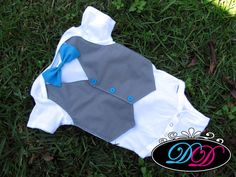Custom Aqua & Gray Baby Boy Tuxedo Bodysuit for Wedding - Short-Sleeve body suit or Shirt - Perfect Baby Boy 1st Birthday Outfit on Etsy, $24.00