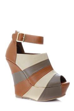 Multi Color Peep Toe Ankle Strap Wedges