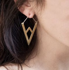 """GLI ORECCHINI DEL COMPASSO D'ORO!    Mountain Hoop Earrings  $135.00  2"""" hoops in brushed brass, bright silver, or oxidized silver. Brass hoops have 14k gold-fill earwires and silver have sterling earwires. Lightweight and lovely."""