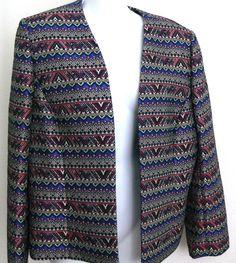 TAHARI ARTHUR S.LEVINE Tribal Print Open Jacket Size 14 Blazer #TahariArthurSlevine #JacketBlazer #Casual