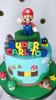 Mario Birthday Cake, 6th Birthday Cakes, Superhero Birthday Cake, Super Mario Birthday, Super Mario Party, Birthday Celebration, Super Mario Cupcakes, Mario Bros Cake, Mario Bros.