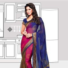 Blue, Fuchsia and Brown Faux Georgette Brasso Saree with Blouse