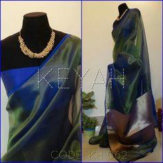 Organza saree in beautiful peacock blue! Love it!!!