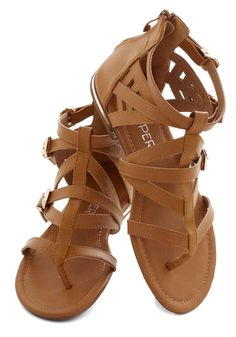 Key to Strappiness Sandal. What does it take to create a look thats tastefully accented with strappy details? #tan #modcloth