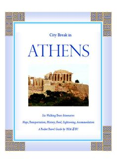 """City Break in Athens"" takes you by the hand to ALL the wonderful places in Athens! Hotel recommendations…transportation guide with maps… where to eat… Intriguing ancient monuments and culture… etc… read more at Kobo. Best Travel Guides, World Cities, City Break, Walking Tour, Wonderful Places, Trip Advisor, Travel Photography, Tours, History"