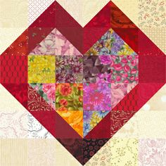 Double Hearts is a quilt block pattern that requires just two simple types of patchwork -- half square triangle units and squares.The design works best as a scrap quilt block, especially when choosing fabrics for the inner heart. I've included cutting instructions for Four Double Hearts block sizes.