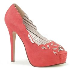 87da56670 Pin Up Couture Bella faux leather in coral with platform peep toe pump with  a cut out detail. If your in between sizes we suggest you go the next size  up.