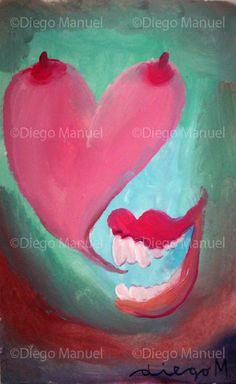 """"""" la risa 2"""", acrylic on canvas, 20 x 32 cm.  By Diego Manuel"""