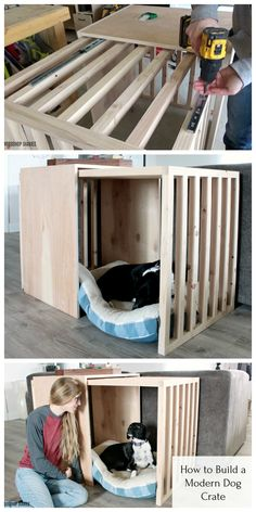 This modern sliding door dog crate furniture is what you and your pup have been looking for! Build this dog crate with sliding door using these plans! Kids Woodworking Projects, Diy Furniture Plans Wood Projects, Diy Outdoor Furniture, Woodworking Projects Diy, Intarsia Woodworking, Woodworking Workshop, Dog Crate Furniture, Large Dog Crate, Deco Design