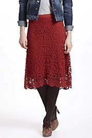 Anthropologie. Doily Lace Skirt -- Love the skirt with the tights and shoes