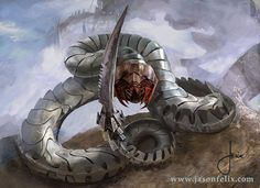Magic The Gathering card art. A cool world made of metal, this is a serpent that you don't want to mess with!