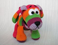 Crocheted Colorful Dog, via Flickr.