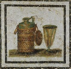 Still-life with bottle and goblet. Mosaic, detail from the pavement of a dining hall in a house near El Jem (Thysdrus), Tunis (late CE). Size: 75 x 75 cm Musee du Bardo, Tunis, Tunisia Rome Antique, Art Antique, Art Of Manliness, Ancient Rome, Ancient Art, Psychedelic Effects, Art Romain, Mosaic Bottles, Religious Rituals