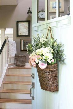 Fresh Cut Spring Flowers in a Door Basket Spring Front Door - The Inspired Room - Love the Home You Have Vasos Vintage, Entry Way Design, Deco Floral, Farmhouse Wall Decor, Vintage Farmhouse, Baskets On Wall, Wall Basket, Hanging Basket, Wicker Baskets