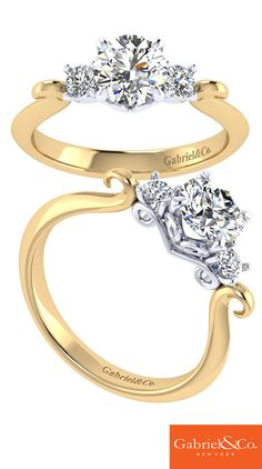A gorgeous detailed Gabriel & Co. 14k yellow and white gold diamond three stone engagement ring.