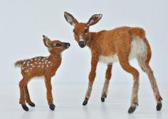 Needle Felted   Animals  Mother-deer and a van darialvovsky op Etsy