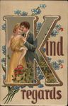 Kind Regards - Couple with Forget-me-nots - Letter K
