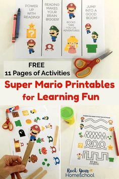 Got kids who love Super Mario Bros? These free Super Mario Printables for Learning Fun are excellent Mario Kart, Mario Bros., Mario And Luigi, Printable Activities For Kids, Preschool Activities, Weekend Activities, Mario Crafts, Mario Birthday Party, Super Mario Party