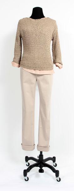 1.2.3 Paris - Pull Croisière / Blouse Bloom / Pantalon Vianney #mode #automne #123 #maille #beige #nude