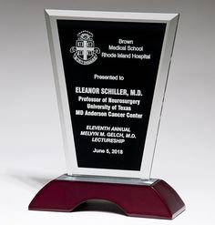 Our Black Glass Award on Rosewood features a piece of black glass for laser engraving personalization with a beveled edge mounted on a high gloss rosewood base. This item comes packaged in a glossy… Island Hospital, Glass Awards, Glass Plaques, Glass Picture Frames, Black Glass, Diamond Shapes, Laser Engraving, High Gloss, Base