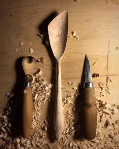 The product of last nights carving session. Wooden Spoon Carving, Wooden Fork, Carved Spoons, Wood Spoon, Wood Carving, Wooden Soap Dish, Wooden Spatula, Wood Sculpture, Abstract Sculpture