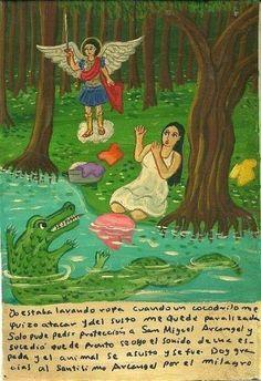 Я стирала вещи, как вдруг появился крокодил, который собрался напасть на меня. От страха меня парализовало, я лишь смогла попросить защиты у Михаила Архангела. Тут же послышался звон меча, и крокодил испугался и уплыл. Я приношу благодарность Святому Михаилу за это чудо.