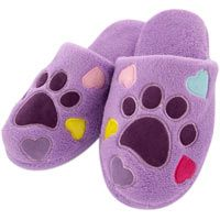 Purple Paw & Hearts Slippers at The Animal Rescue Site   #smartforfun