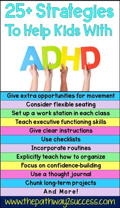 Strategies for Kids with ADHD. Kids education tips for parents and educators. Adhd Activities, Therapy Activities, Health Activities, Therapy Worksheets, Therapy Games, Counseling Activities, Family Activities, Speech Therapy, Memo Boards