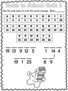 Free Back to School Math Codes, K-2