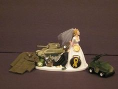 Funny Army Wedding Cake Topper Grooms