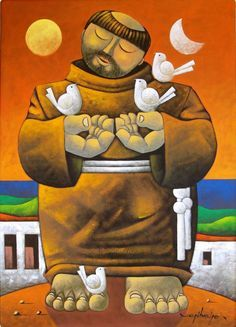 "Francis IV"" by Brazilian artist Osvaldo Ribeiro :: Feast Of St Francis, Francis Of Assisi, St Francisco, Op Art Lessons, Plus Size Art, Cuban Art, Christian Artwork, Catholic Saints, Arte Pop"