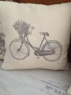 "Vintage Cushion with Provencal Style ""Bicycle"" by ByBeeSee on Etsy Vintage Cushions, Provence Style, Cushion Fabric, Vintage Bicycles, Different Patterns, I Shop, Etsy, Unique, Cotton"