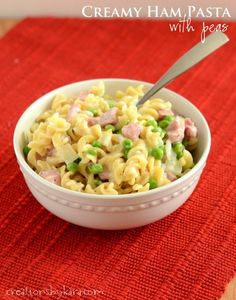 Creamy Ham Pasta with Peas- a great light summer meal!