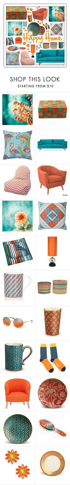 """""""Goldfish Bowl inspired HOME"""" by beanpod ❤ liked on Polyvore featuring interior, interiors, interior design, home, home decor, interior decorating, NOVICA, Joybird, Majestic Home Goods and angelo:HOME"""