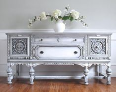 RARE Massive 74 Antique Early 1900 s Jacobean Hand Painted French Country Design Weathered White Gray Buffet Sideboard Media Console Old World Furniture, Furniture Care, Furniture Makeover, Vintage Furniture, Painted Furniture, Home Bar Rooms, Rustic Buffet, Solid Wood Sideboard, Antique Cabinets