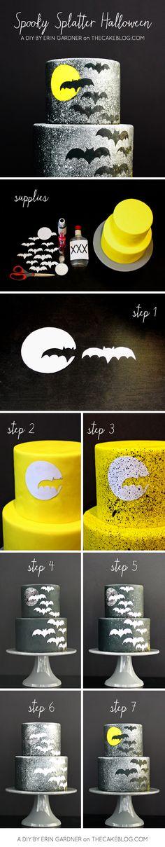 DIY Spooky Splatter Halloween Cake     by Erin Gardner     TheCakeBlog.com