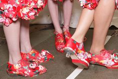 Simone Rocha showed signature Plexi heeled brogues in a vibrant floral pattern with a vintage feel.