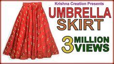 Umbrella Skirt ,अम्ब्रेला स्कर्ट , Drafting, Cutting & Stitching in Hindi By Krishna Creation Long Umbrella, Umbrella Skirt, Circle Skirt Tutorial, T Shirt Tutorial, Tutorial Class, Pola Rok, Kids Umbrellas, Divided Skirt, The Neighbor