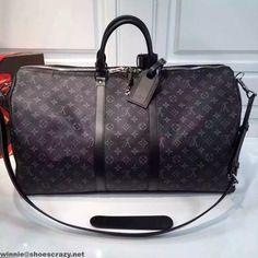 Louis Vuitton Monogram Eclipse Keepall 55 Bandouliere Bag 2016