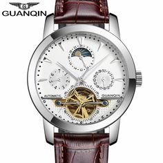 US $52.58 - GUANQIN Luxury Men's Casual Watches Tourbillon Automatic Mechanical Leather Watch Men Sport Date Luminous Clock reloj hombre