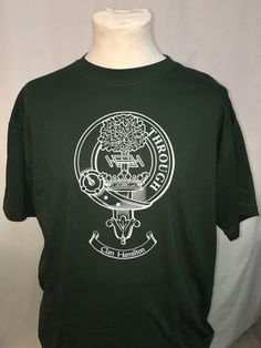 Cotton t shirt with crest of clan Hamilton. XL size in green. Clearance item. only one available at this price - half the normal selling price