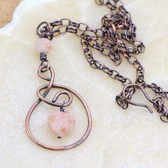 Sunstone Heart Pendant  Rustic Copper Necklace  Orange by Jularee