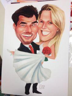 Bruno e Marcele  Caricatura feita para casamento. Uma amiga dos noivos resolveu presenteá-los colocando a caricatura em um quadro e eles usaram para compor a decoração no casamento.
