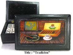 """Dominoes Set double six in leather case w/artwork """"Tradition"""" on top.  #ArtworkontopcoverwSuperglazecoattoprotect"""