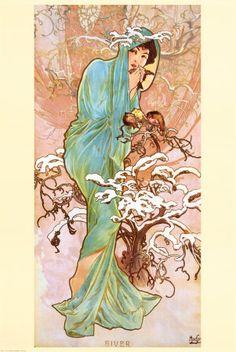 Invierno Póster por Alphonse Mucha en AllPosters.es