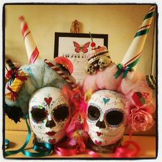 Day of the Dead Cotton Candy Massacre Doll - Mask Candy Sugar Skull Masquerade Rainbow Pink Rainbow Kawaii sweets treats Dia de los muertos. $195.00, via Etsy.