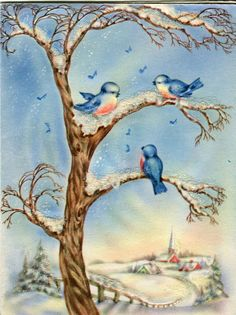 Vintage WIPCO Card: Bluebirds in Snowy Tree outside a Village- Mica Glitter